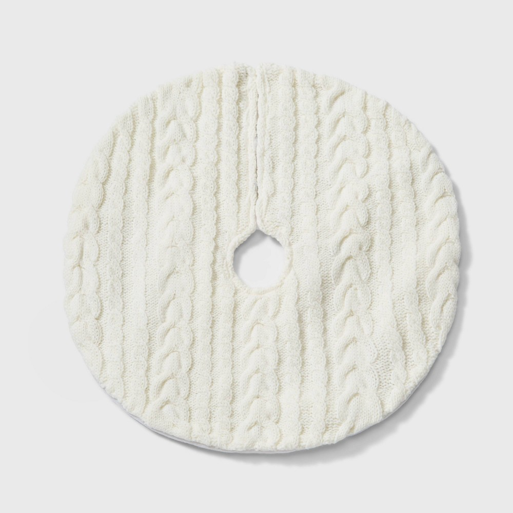 "Image of ""18"""" Mini Cable Knit Christmas Tree Skirt Cream - Wondershop , White"""