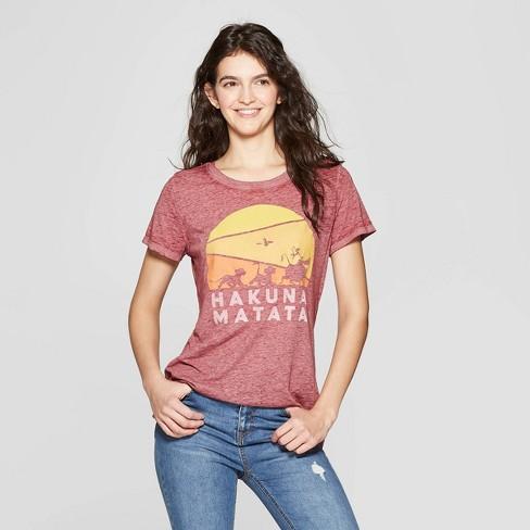 Women's The Lion King Hakuna Matata Short Sleeve T-Shirt - (Juniors') - Burgundy - image 1 of 2