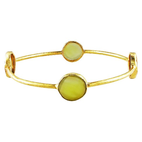 "24 CT. T.W. Yellow Onyx Bangle in 22k Yellow Gold Plated Brass - 8"" - Yellow - image 1 of 1"