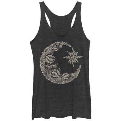 Women's CHIN UP Lace Print Moon Racerback Tank Top