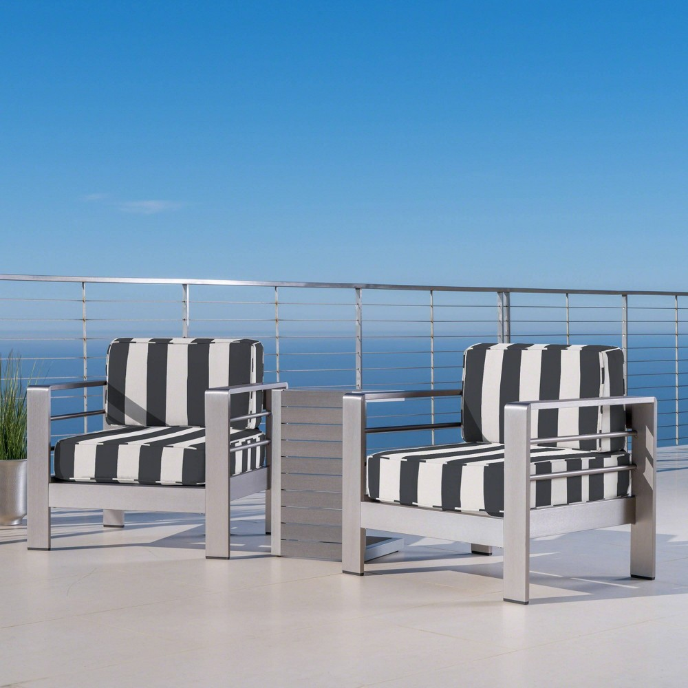 Image of 3pc Cape Coral Aluminum & Faux Wood Patio Chat Set with Sunbrella Cushions Natural - Christopher Knight Home