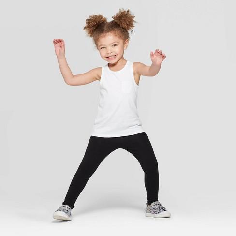 Toddler Girls' Basic Tank Top and Bottom Set - Cat & Jack™ White/Black - image 1 of 3