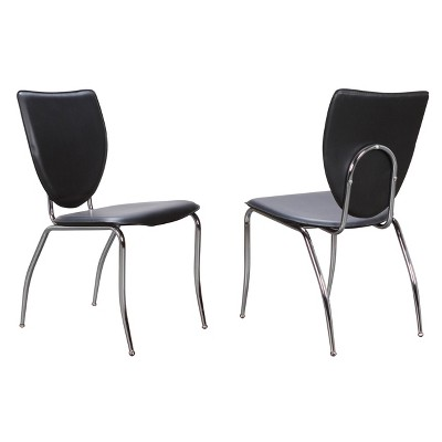 Set of 2 Amice Metal Stacking Side Chairs Black - Linon