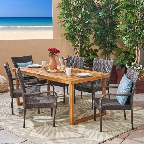 Mayhill 7pc Acacia Wood and Wicker Dining Set - Brown - Christopher Knight Home - image 1 of 4