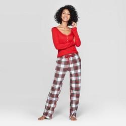 Women's Plaid Henley Sleep Pajama Set - Stars Above™ Red