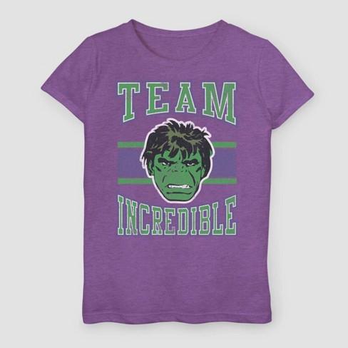 Girls' Marvel Hulk Team Incredible Short Sleeve T-Shirt - Purple - image 1 of 1