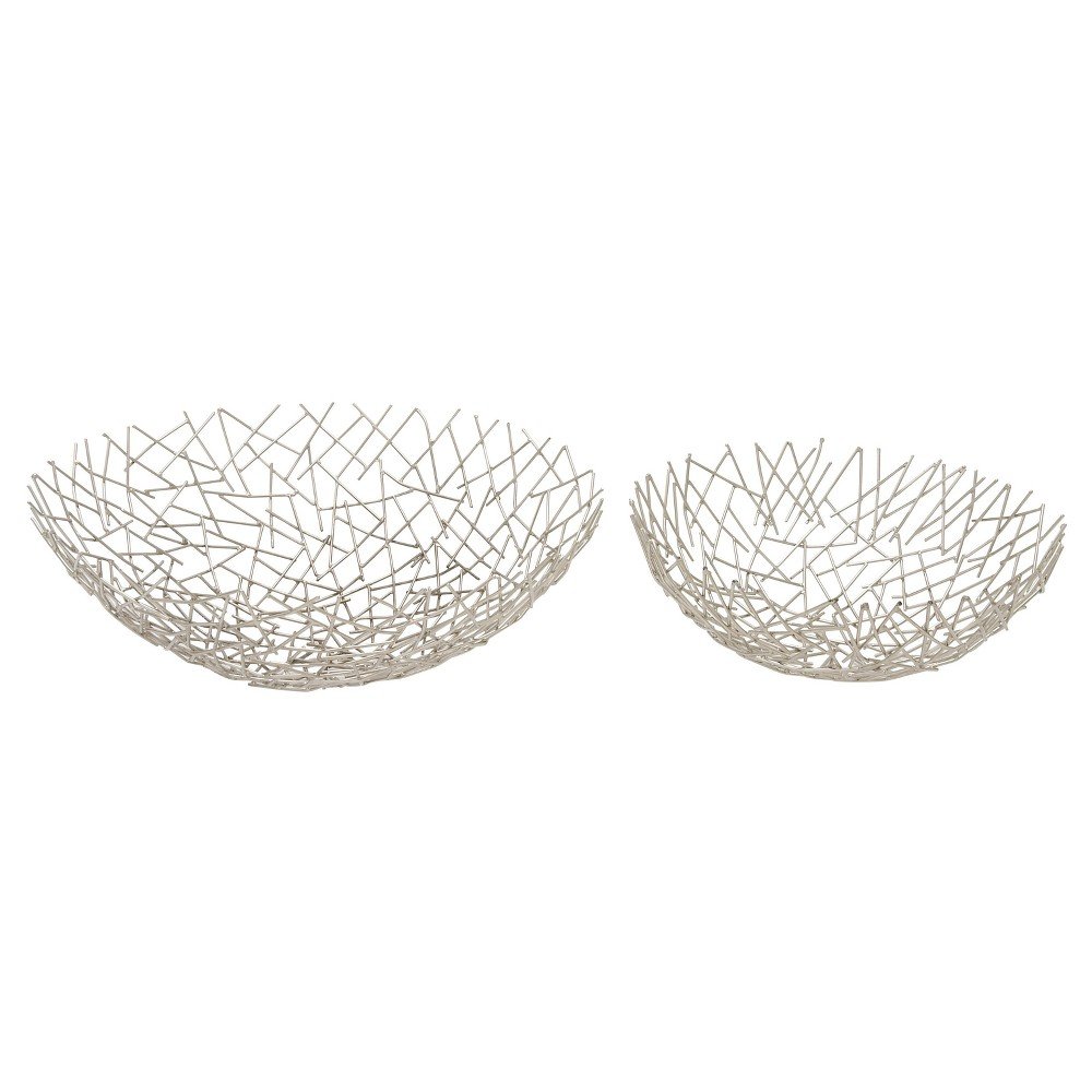 Modern Reflections Oval Stick Bowl Set Silver 2ct - Olivia May, Light Silver