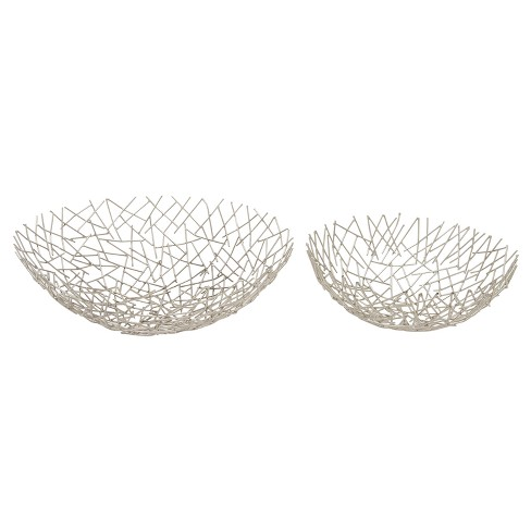 Modern Reflections Oval Stick Bowl Set Silver 2ct - Olivia May - image 1 of 2