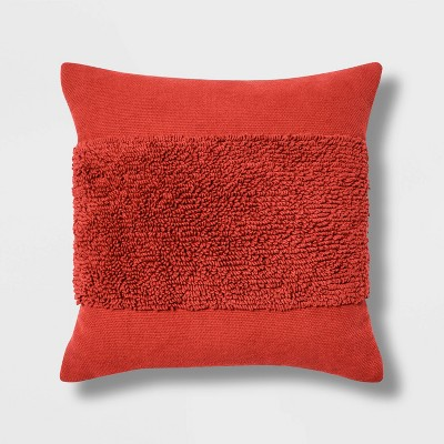 "18""x18"" Square Modern Tufted Throw Pillow Orange - Project 62™"