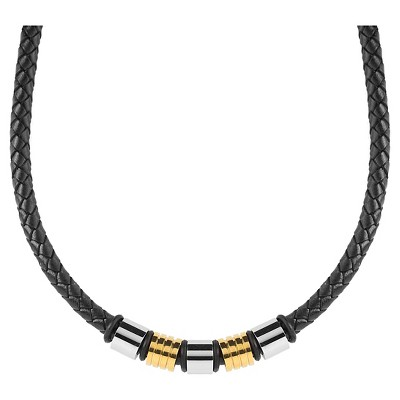 Men's Crucible Two-Tone Braided Leather Beaded Necklace