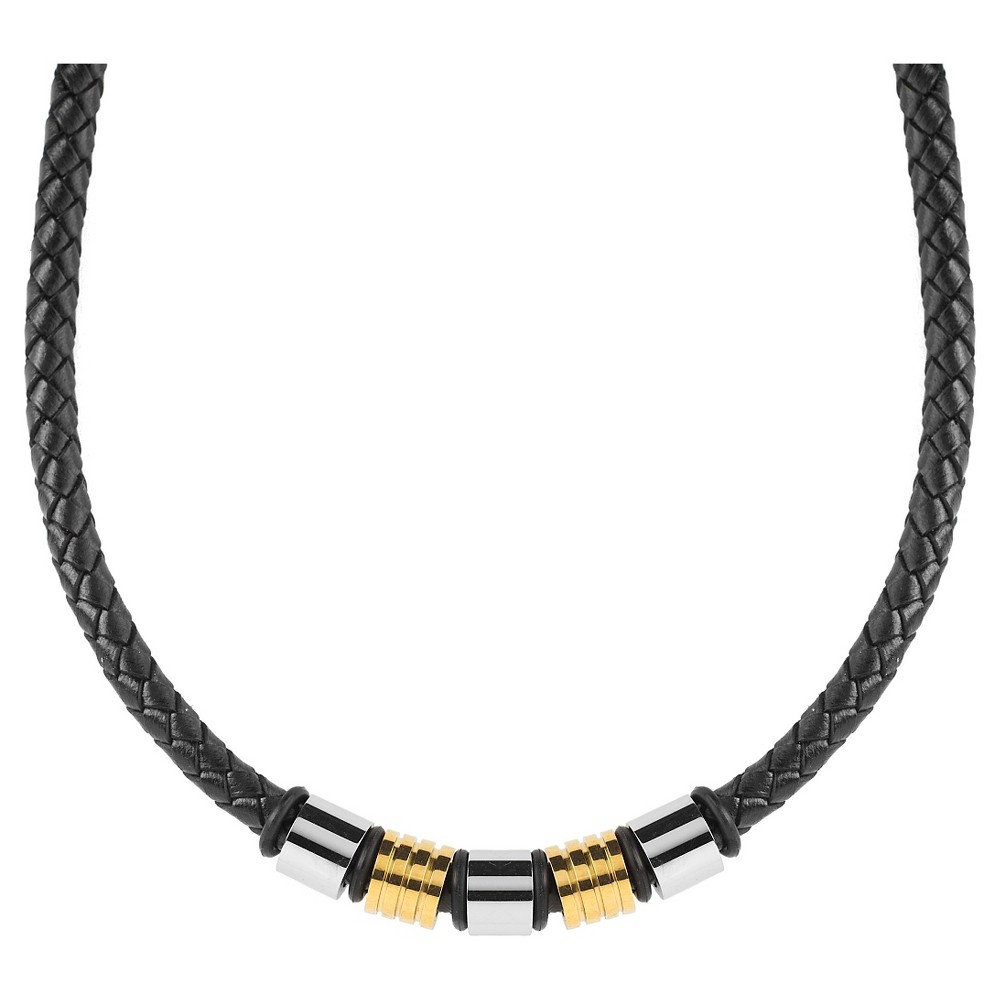 Men S Crucible Two Tone Braided Leather Beaded Necklace