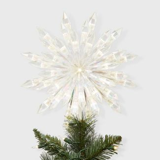 "13.5"" Lit Acrylic Starburst Tree Topper White - Wondershop™"