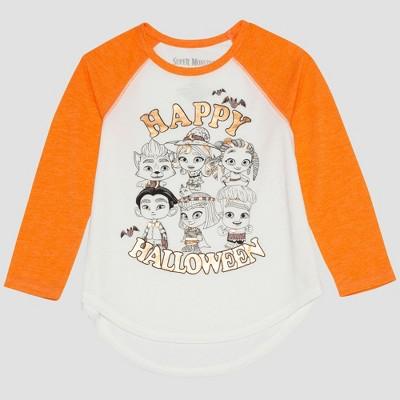 5e591fe63ee Netflix Toddler Girls  Long Sleeve Raglan T-Shirt - White Orange   Target