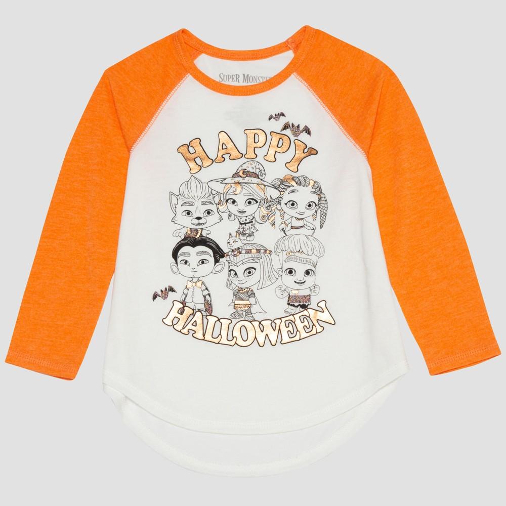 Netflix Toddler Girls' Long Sleeve Raglan T-Shirt - White/Orange 12M