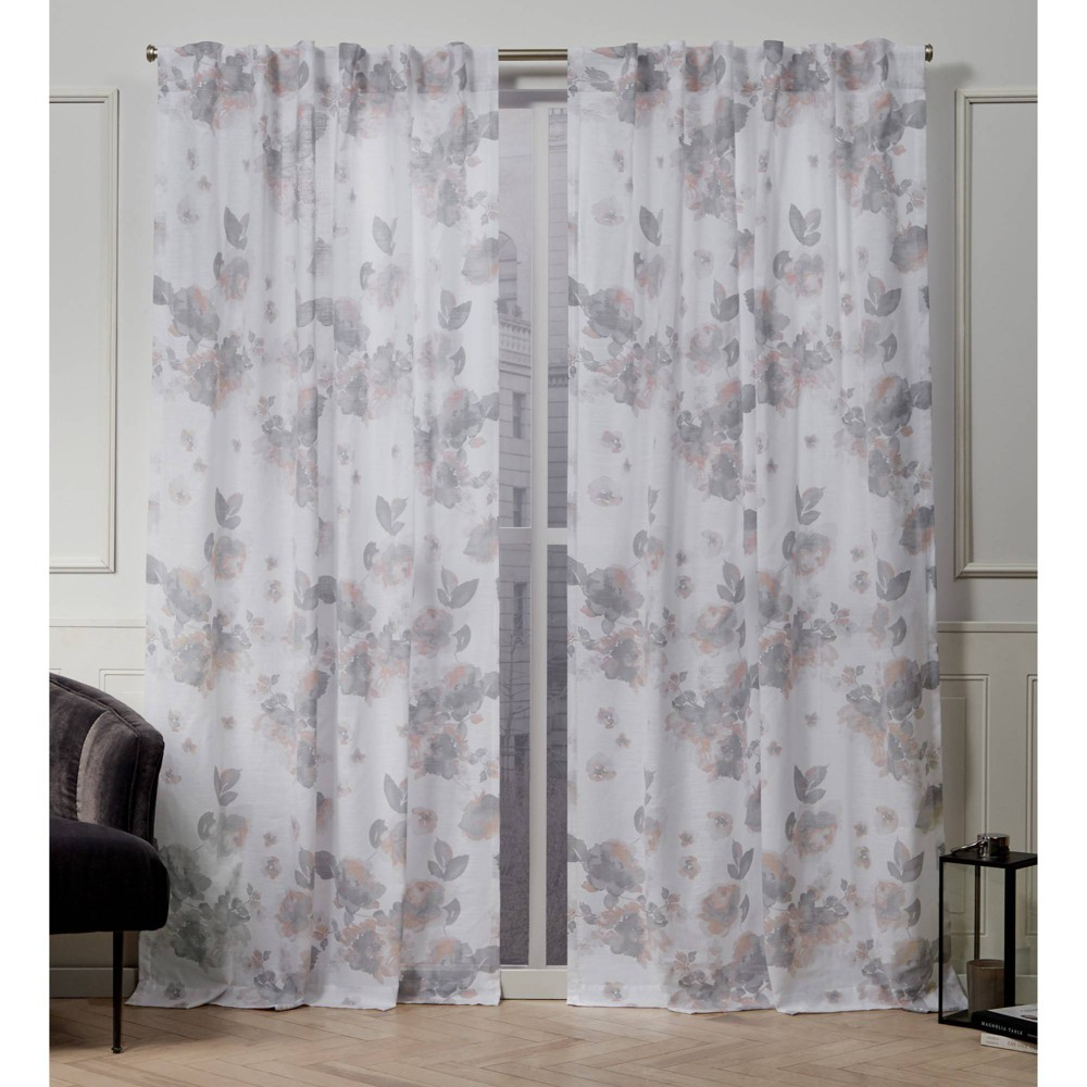 "Image of ""50""""x108"""" Kristy Back Tab Light Filtering Window Curtain Panels Blush Pink - Nicole Miller"""
