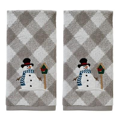 2pk Snowman and Birdhouse Hand Towel Set Gray - SKL Home
