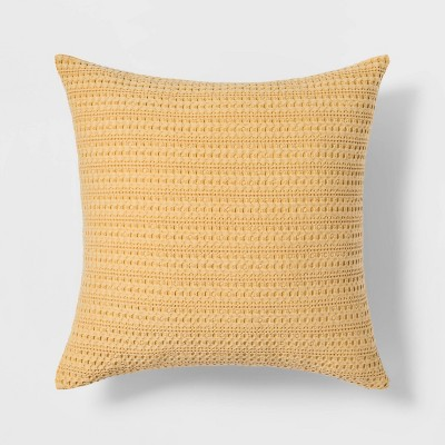 Washed Waffle Square Throw Pillow Yellow - Threshold™