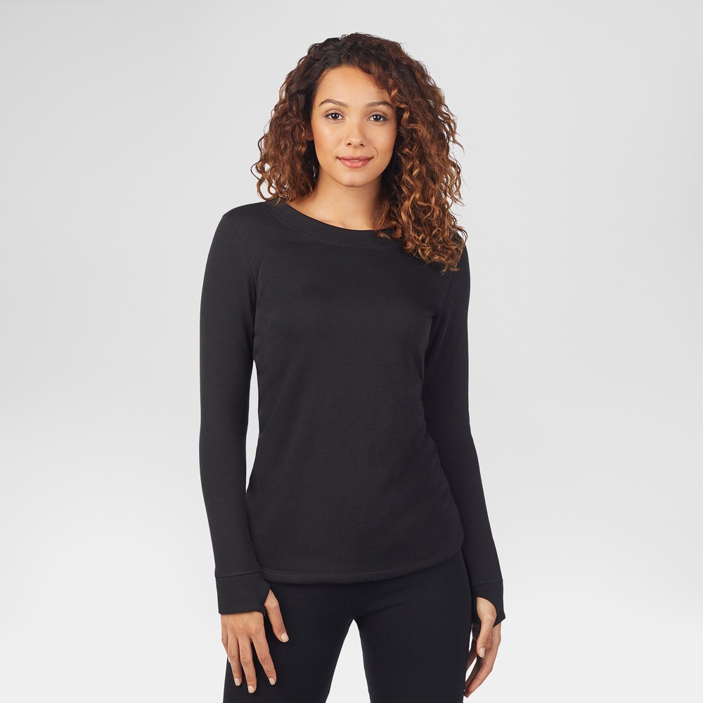 Warm Essentials by Cuddl Duds Women's Luxe Lined Jersey Thermal Crew - Black XL