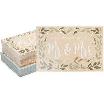 Paper Junkie 48-Pack Rustic Thank You From the New Mr & Mrs Wedding Cards with Envelopes 4x6 in