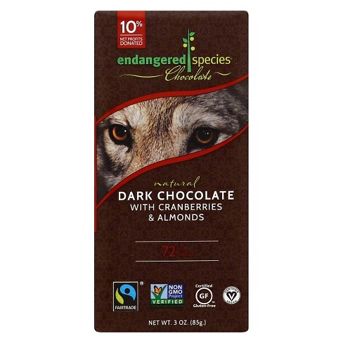 Endangered Species Chocolate Natural Dark Chocolate with Cranberries and Almonds - 3oz - image 1 of 1