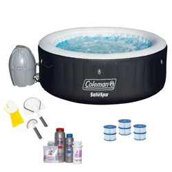 Coleman SaluSpa 4 Person Spa w/ Cleaning Tools, Filter Cartridge, & Bromine Kit
