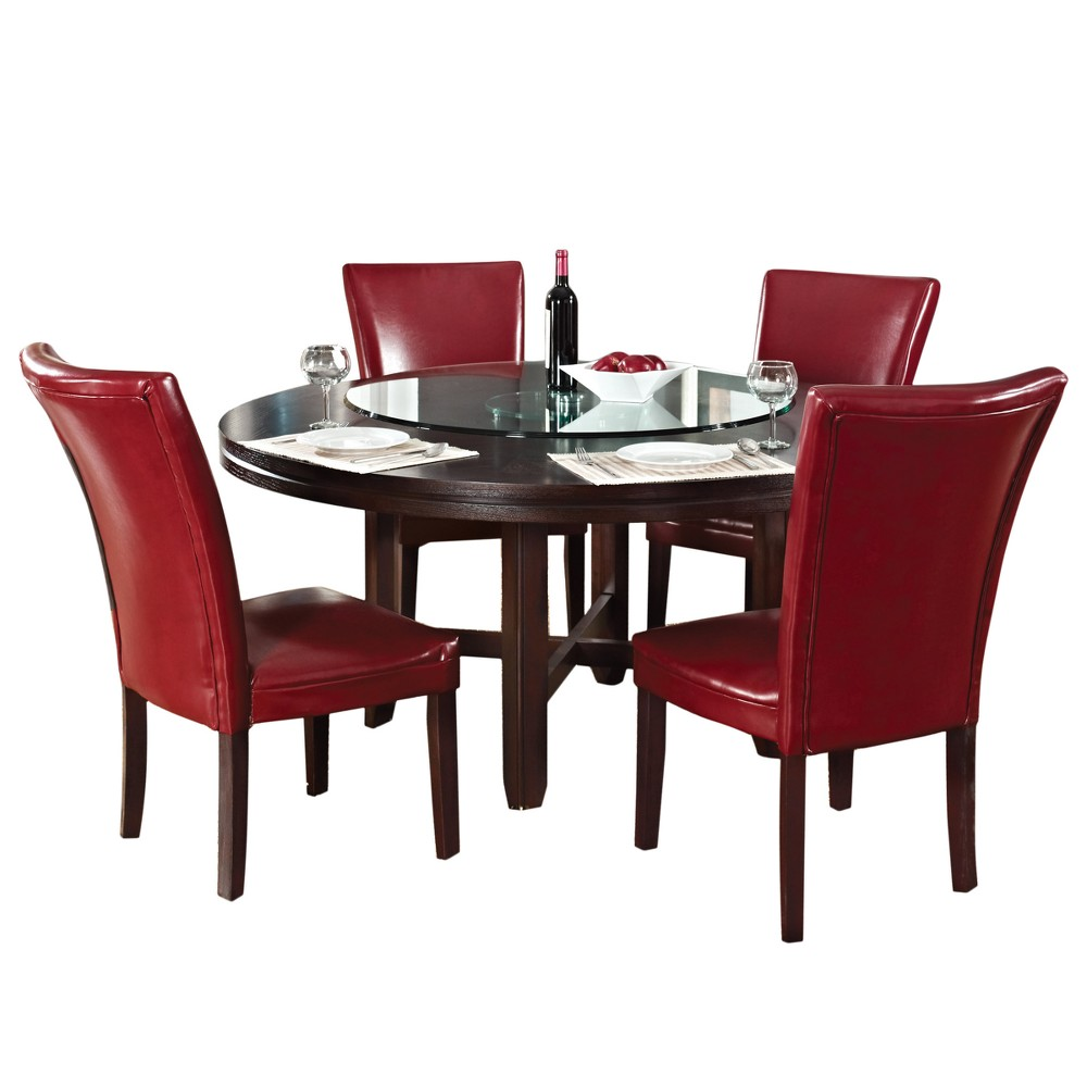 5Pc Talbot Dining Set Table 72 Dark Oak and Red Chair - Steve Silver