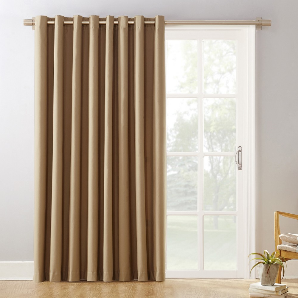 "Image of ""100""""x84"""" Kenneth Easton Extra Wide Blackout Sliding Patio Door Curtain Panel Taupe - Sun Zero"""