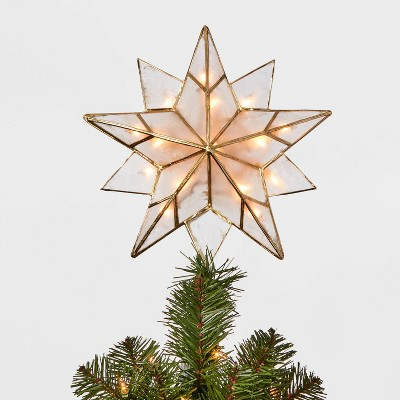 Shop 13in 16 Light Capiz Star Tree Topper Clear/Gold - Wondershop from Target on Openhaus