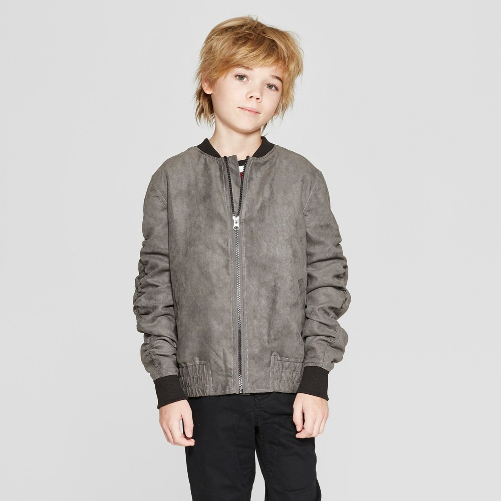 Boys' Suede Bomber Jacket - art class Gray S