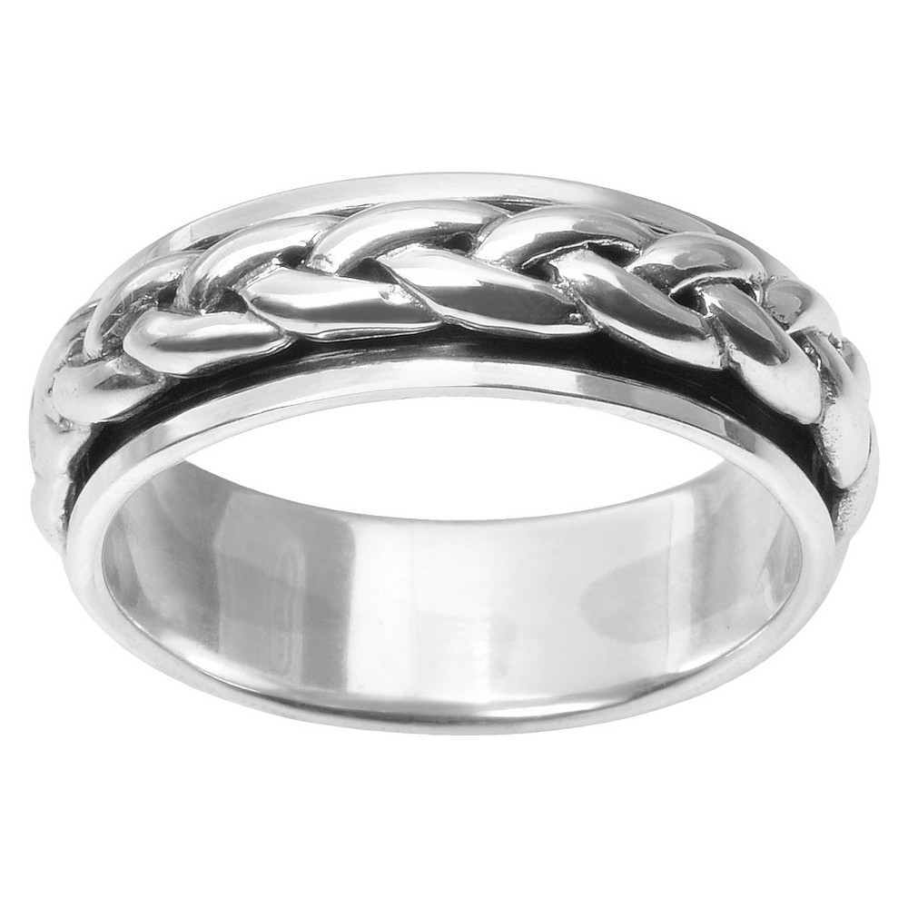 Men's Daxx Braid Spinner Band in Sterling Silver - Silver (9) (7mm)