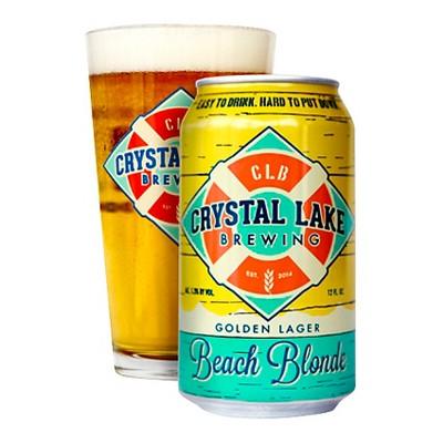 Crystal Lake Beach Blonde Golden Lager Beer - 6pk/12 fl oz Cans
