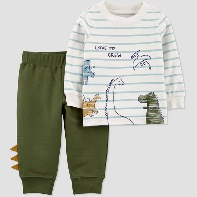 Baby Boys' 2pc Dino Top & Bottom Set - Just One You® made by carter's Olive 9M