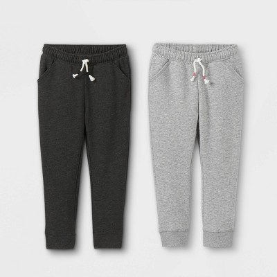 Toddler Girls' 2pk Fleece Jogger Pants - Cat & Jack™ Black/Gray