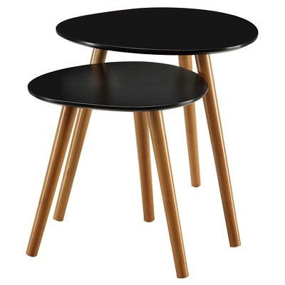 Oslo Nesting End Tables Black/Natural - Breighton Home