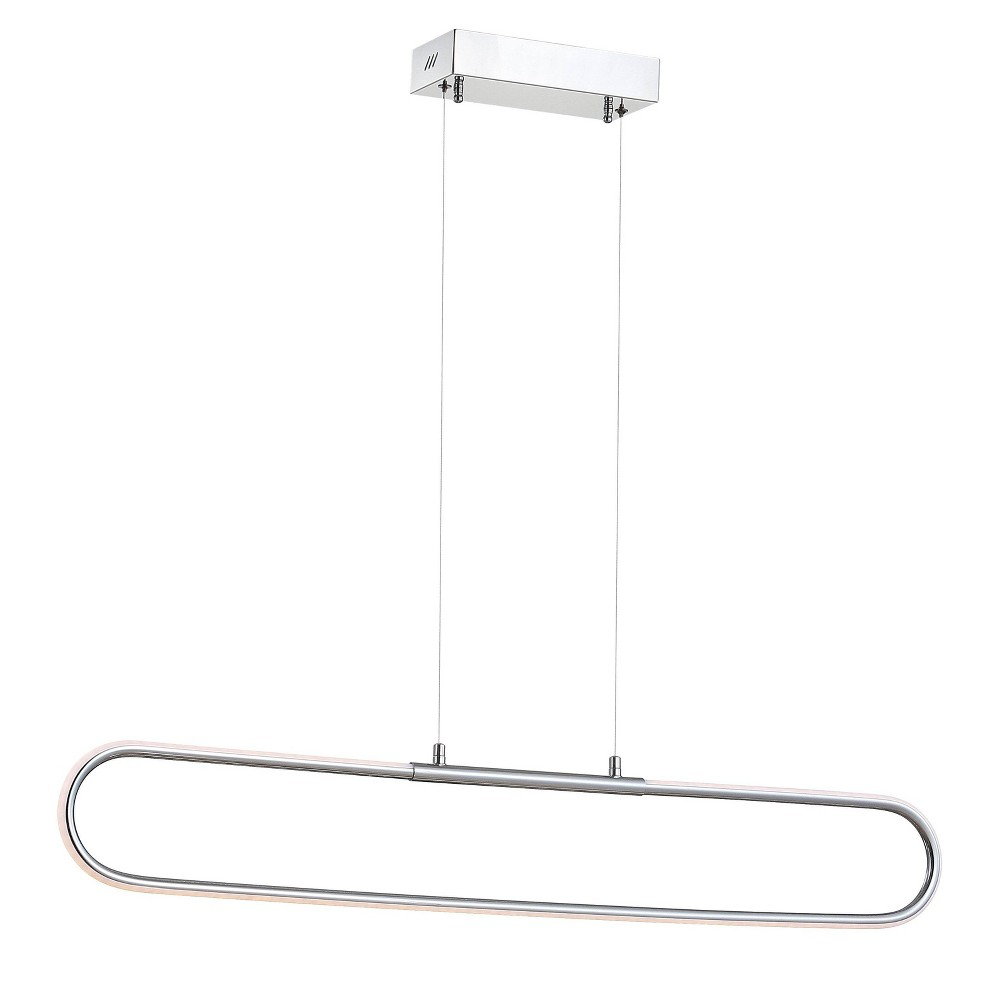 """Image of """"39"""""""" Ned Dimmable Adjustable Integrated LED Metal Linear Pendant Chrome - JONATHAN Y"""""""