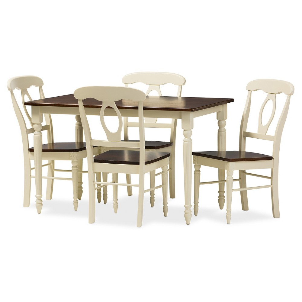Napoleon French Country Cottage Buttermilk & Cherry Brown Finishing Wood 5-Piece Dining Set - Baxton Studio, White