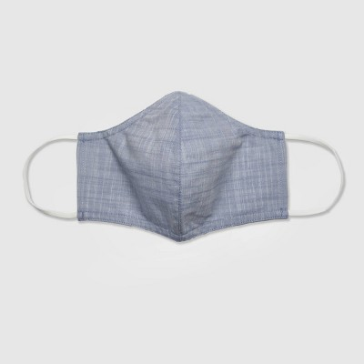 Women's Blue Chambray Striped Single Fabric Face Mask - Universal Thread™  L/XL