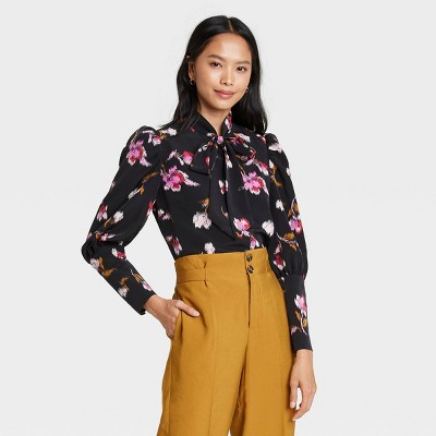 Women's Floral Print Puff Long Sleeve Blouse - Who What Wear™
