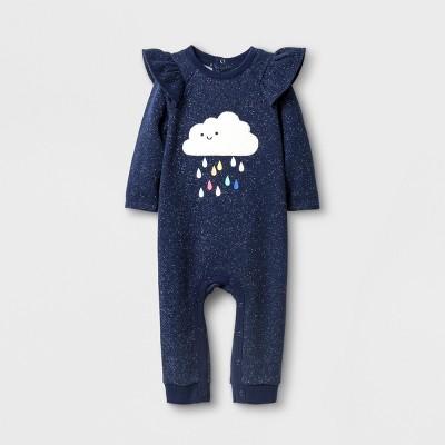 Baby Girls' Chenille Cloud Romper - Cat & Jack™ Navy NB