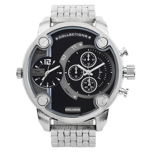 Men's Territory Oversized Round Face Metal Link Watch - image 1 of 4