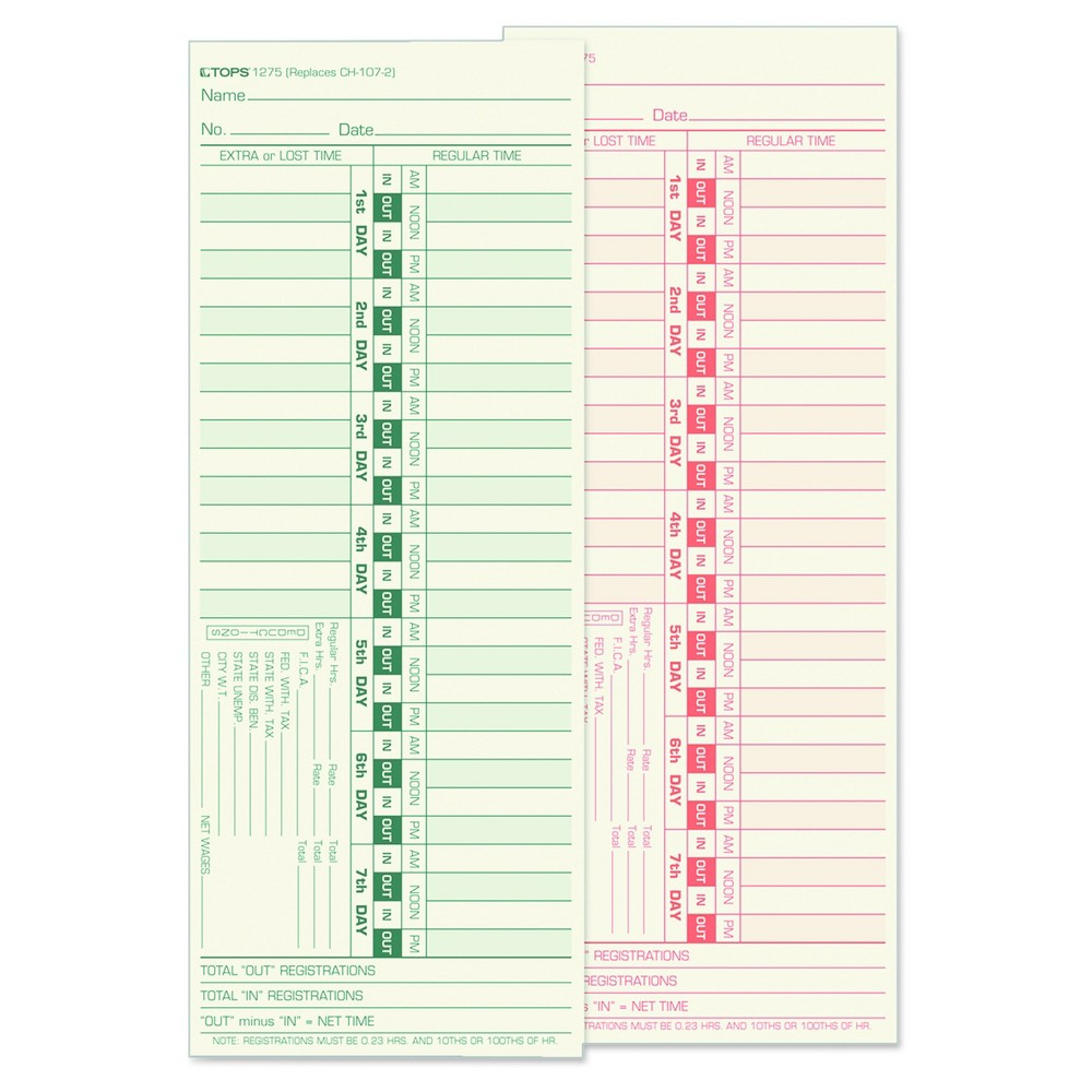 Tops Time Card for Lathem, Bi-Weekly, Two-Sided, 3 1/2 x 9, 500/Box, Beige