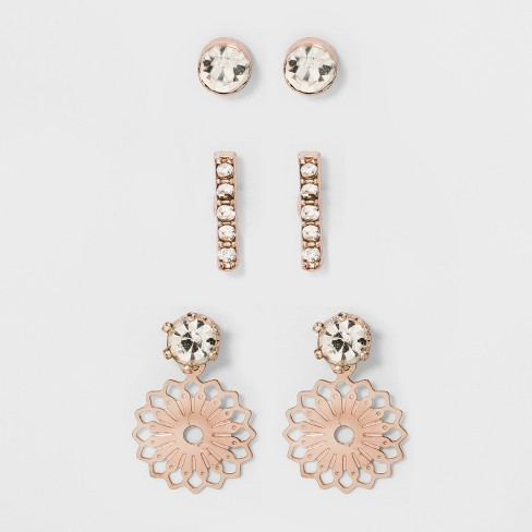Stud Earring Set Of 3 A New Day Rose Gold Clear