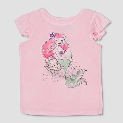 71056dd40 Toddler Girls' The Little Mermaid Ariel and Flounder Ruffle Tank Top - Pink