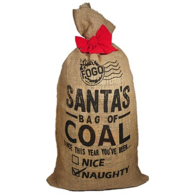 FOGO Santa Bag of Coal With Super Premium Restaurant Grade All-Natural Hardwood Lump Charcoal Fuel for Ideal Grilling and Smoking, Gold, 17 Pounds