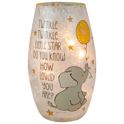 Northlight 7.25-Inch Moon and Stars Twinkle Twinkle Baby's Nursery Lighted Glass Vase