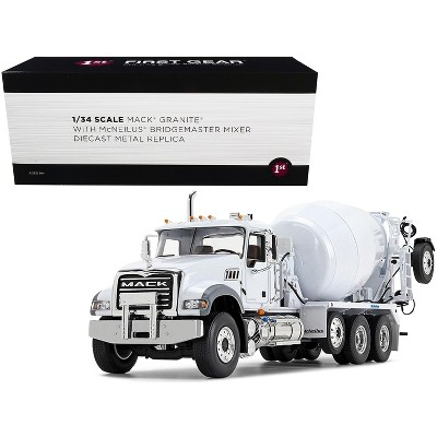 Mack Granite MP with McNeilus Bridgemaster Mixer with Pusher Axle White 1/34 Diecast Model by First Gear