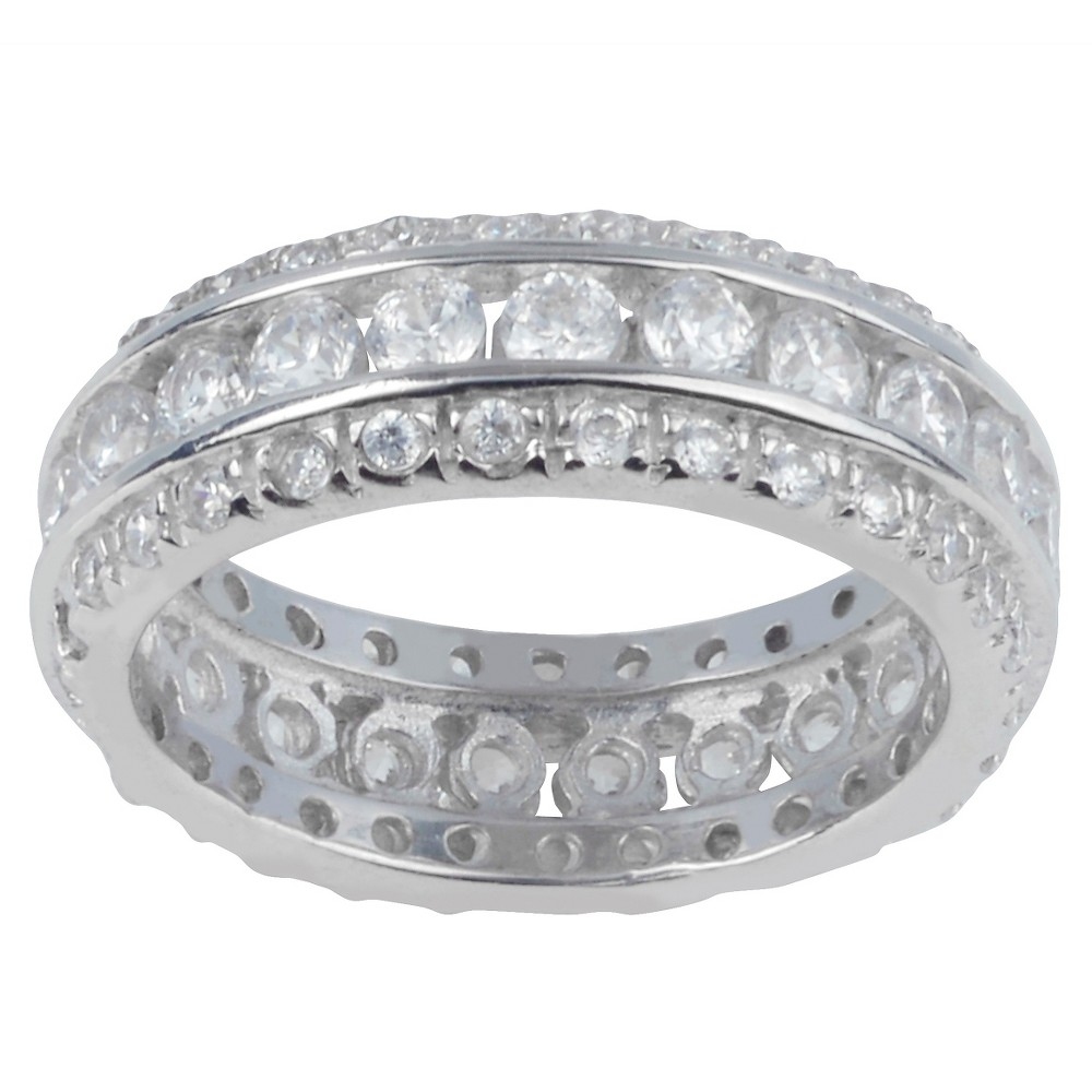 1 1/6 CT. T.W. Round-Cut CZ Pave Set Engagement Band in Sterling Silver - Silver, 6, Girl's, Size: 5