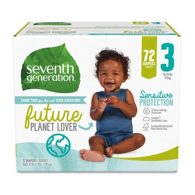 Seventh Generation Sensitive Protection Diapers Super Pack - Size 3 - 72ct