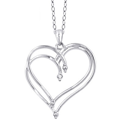 "Women's Sterling Silver Round-Cut White Diamond Prong Set Double Heart Pendant (18"")"