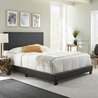Queen Langley Faux Leather Upholstered Platform Bed Frame Black - Eco Dream
